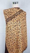 Kashmiri Shawl,  Wool Floral Embroidery, Coffee Brown Shawl, Stole, Scarf