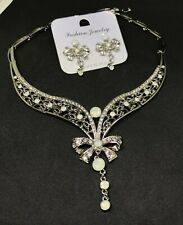Women Crystal Necklace Earring Party Bridal Dinner Dress Jewelry Set