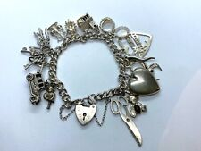 Vintage Sterling Silver Charm Bracelet With Padlock & 14 Charms 47.5 grams