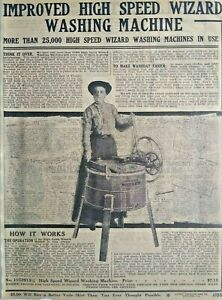 1911 Antique Wizard Washing Machine Art Sears Catalog Page Vintage Print Ad