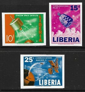 STAMPS-LIBERIA. 1964. Utilization of Outer Space Imperf Set. Michel: 619/21. MNH