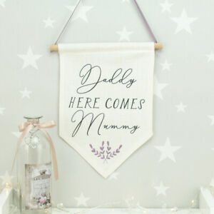 Personalised Wedding Daddy Here Comes Mummy Flag Sign Bridesmaid Flower Girl