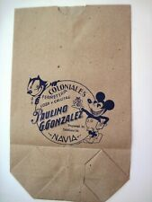 """Vintage RARE Italian Graphics of """"Mickey Mouse & Felix The Cat"""" On Paper Bag *"""