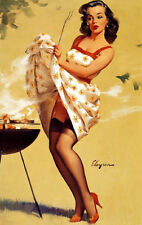 Framed Print - G Elvgren Pin Up Girl Lift Up Skirt Cooking at BBQ Picture Poster