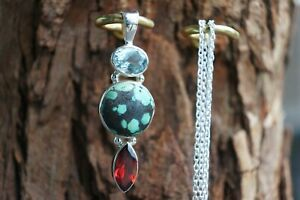 Blue Topaz Tibeten Turquoise Garnet Pendant Chain Sterling Silver Real Gemstone