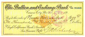1900 Carson City, Nevada BULLION & EXCHANGE BANK check