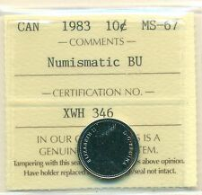 1983 Canada 10 Cent NBU ICCS MS-67, Very Affordable for New Hobbyist