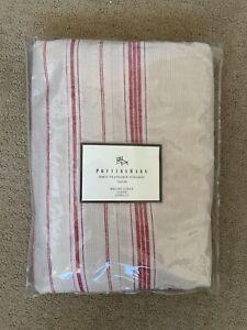 Pottery Barn Lewis Headboard Slipcover Brooke Stripe Red Tan Linen Blend - Queen
