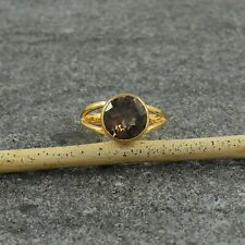 Smoky Quartz 18K Gold Plated Sterling Silver Bridal Promise Ring in All Sizes