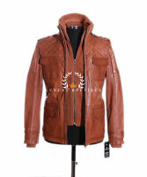Franco Tan Men's New Retro Casual Real Waxed Quilted Leather Safari Jacket