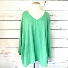 Ulla Popken Women's Plus Size 32/34 Top Green Relaxed Fit 3/4 Sleeve Cotton Bl.