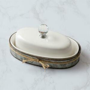 Farmhouse Butter Dish with Galvanized metal Caddy