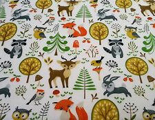 WOODLAND ANIMALS FLANNELETTE GREY 100% Cotton 'NEW FABRIC' Animal Print Material