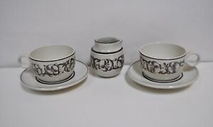 Gustavsberg Sweden Stig Lindberg GARDEN Two Pair of Cup & Saucers and Creamer