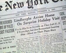 CHARLES LINDBERGH & Family Return to America (Visit) Self Exile 1937 Newspaper