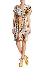 Nicole Miller NWT NAVY/MAIZE Faux Wrap Floral Print Fit &Flare Dress 4,6,8,12,14