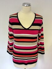GERRY WEBER MULTI COLOURED STRIPED V NECKLINE JUMPER SIZE 14