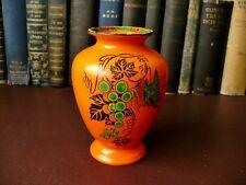 1920's Art Deco Shelley Vase - Black & Green On Orange Grapes Decoration