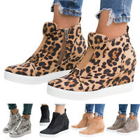 Womens Hidden Wedge Low Mid Heel Ankle Boots Sneakers Trainers Comfy Shoes Size