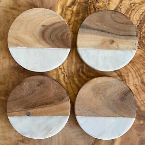 Set of 4 White Marble & Mango Wood Coasters - Factory Rejected Stock - 10cmDia