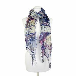 Pia Rossini Womens Lightweight Sheer Scarf Accessory With Navy Floral Print