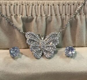 Butterfly Bella Luce White Cubic Zirconia Necklace with Bella Luce Stud Earrings