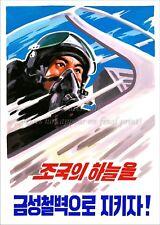 North KOREA Anti-American Propaganda Poster Print A3 + #D152 AIR FORCE PILOT