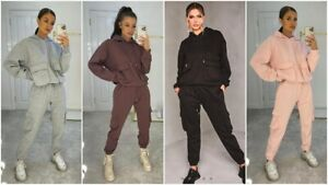 Womens Ladies Oversize Baggy Cargo 2 Pieces Lounge Wear Joggers Casual Tracksuit