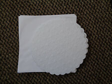 CRAFTSTYLE 5 X WHITE  STARS 8X8 inch SCALLOP EDGE CIRCLE CARDS+ ENVELOPES