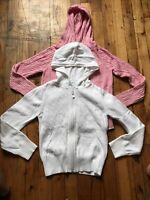 Lot Of 2 Gap Old Navy Girls Cableknit Knit Zip up hooded Sweater Size M (8)