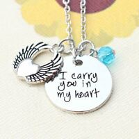 *UK* 925 SILVER PLT 'I CARRY YOU IN MY HEART' ANGEL WING LOVE NECKLACE WIFE GIFT