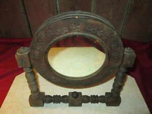 vtg  wood hand made  Make-Up Mirror  table top