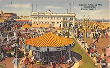 c.1940 Merry Go Round Kiddies' Playland & Boardwalk Asbury Park NJ post card