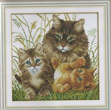 Counted Cross Stitch Kit, Mother Cat With Her Kittens