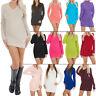 New Womens Ladies Plain Knit V-Neck Knitted Long Jumper Dress Size 8-14 S M L XL