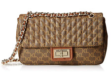 Karl Lagerfeld Paris Agyness KL Signature Quilted Flap Shoulder Bag Brown Khaki