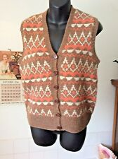 """vintage hand-knit  wool blend button front sleeveless cardigan/ jumper M - 34"""""""