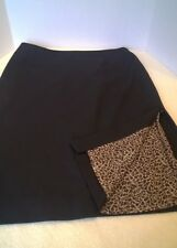 IDEOLOGY Sz10 BLACK SKIRT WITH LEOPARD PRINT LINING WITH BACK ZIPPER SIDE SPLIT
