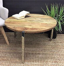 Coffee Table Round Wooden Top Chrome Legs LOUNGE HOME DECORATION FURNITURE