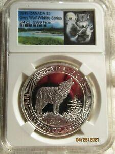2015  CANADA  $2  3/4 Oz. SILVER  GREY  WOLF...WILDLIFE  SERIES...BEAUTIFUL COIN