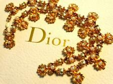 VTG 80S CHRISTIAN DIOR COUTURE GILT GLASS PEARL INTRICATE FLORAL RUNWAY NECKLACE