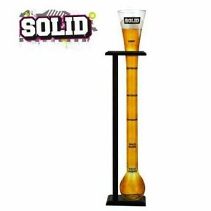 Yard of Ale Drinking Glass Novelty Stag Do Beer Themed Gift with Wooden Stand