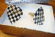 B & W Fender Heavy Checkerboard Race Flag Guitar Pick Cuff links Silver Plated