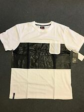 NWT ENYCE MEN'S DESIGNER T SHIRT WHITE BLACK LEATHER SIZE 2XL EXTRA EXTRA LARGE