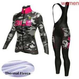 cycling jersey women winter thermal fleece bike shirt bib pants set bike clothes