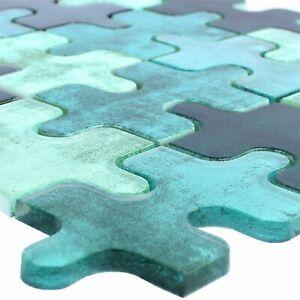 MUSTER Glasmosaik Fliesen Puzzle Grün | Wand Fliesenspiegel Effekt Mosaikfliese