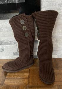 UGG Australia Women's Sz 7 Classic Cardy Knit Boots Brown Calf High