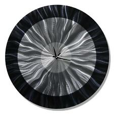 Statements2000 Metal Wall Clock Art Abstract Modern Black Silver Decor Jon Allen