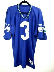 Champion Vintage Seattle Seahawks #3 Rick Mirer Jersey Size 40 Blue Made in USA
