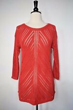 Chelsea & Theodore Crochet Sweater Ladies 3/4 Sleeve Coral Size Small    NWT